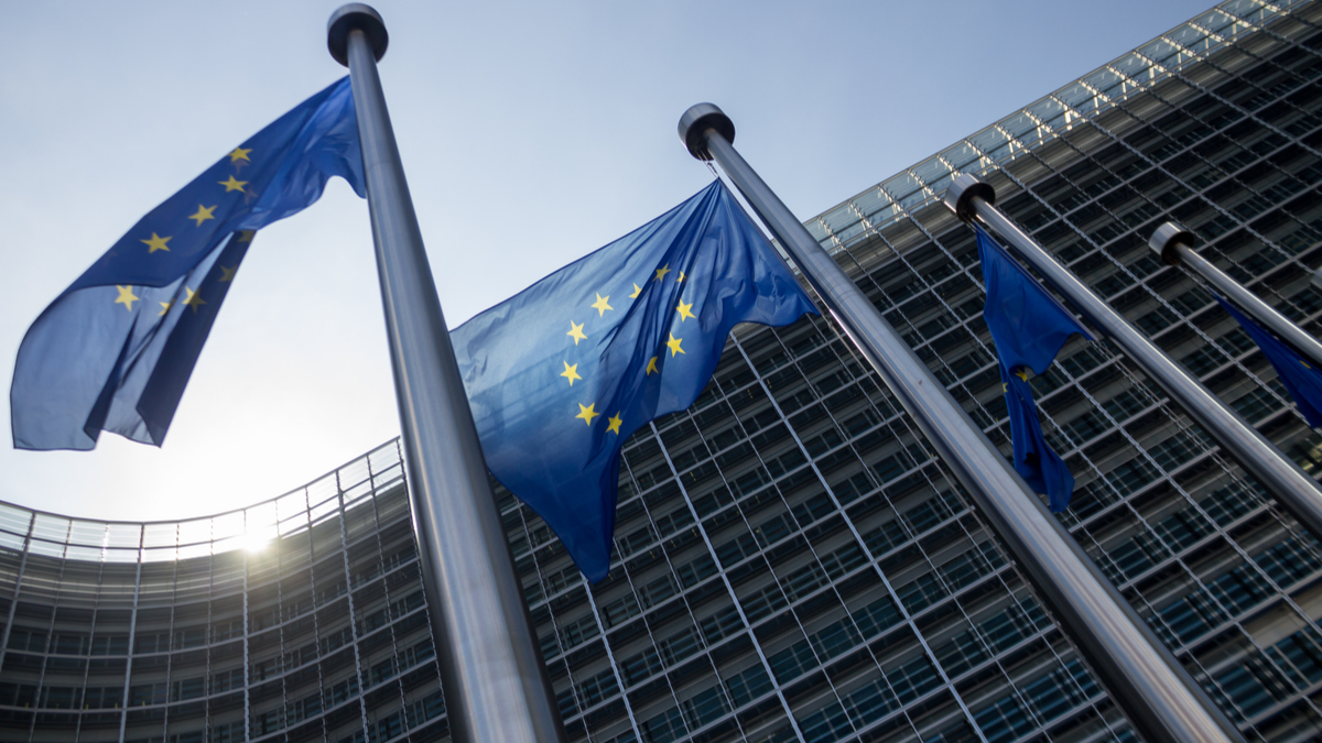 EU flags fly in front of EU Commission buildings, Brussels