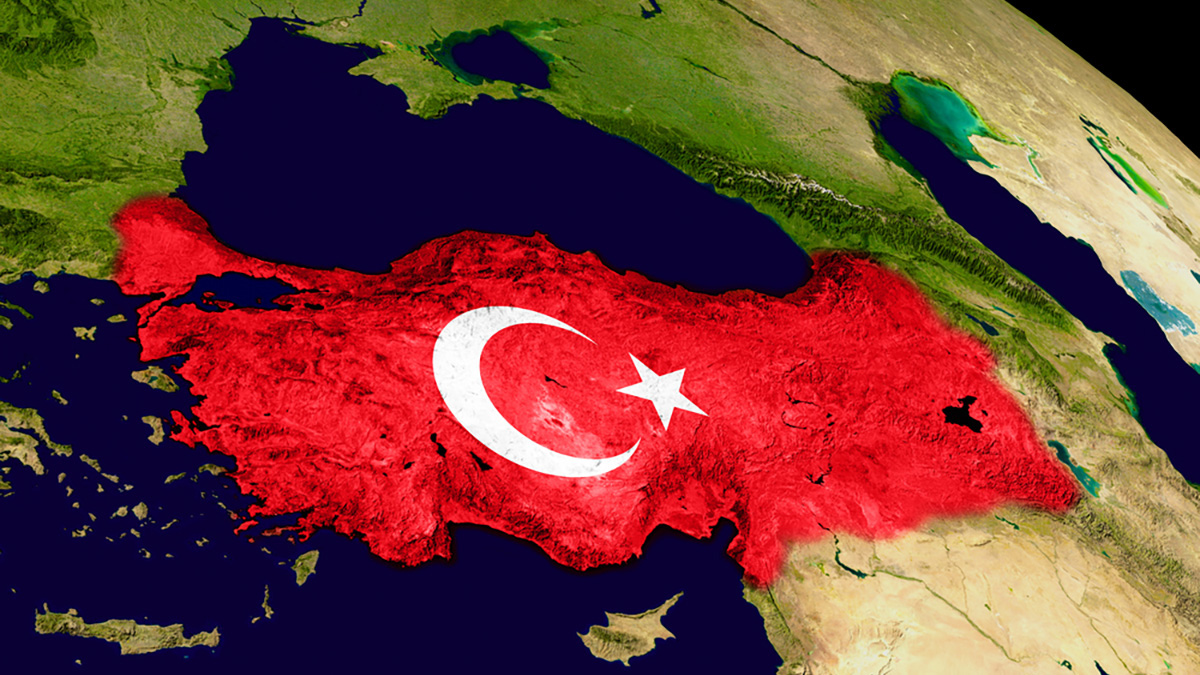 Map of Turkey with embedded flag on planet surface. 3D illustration. Elements of this image furnished by NASA.