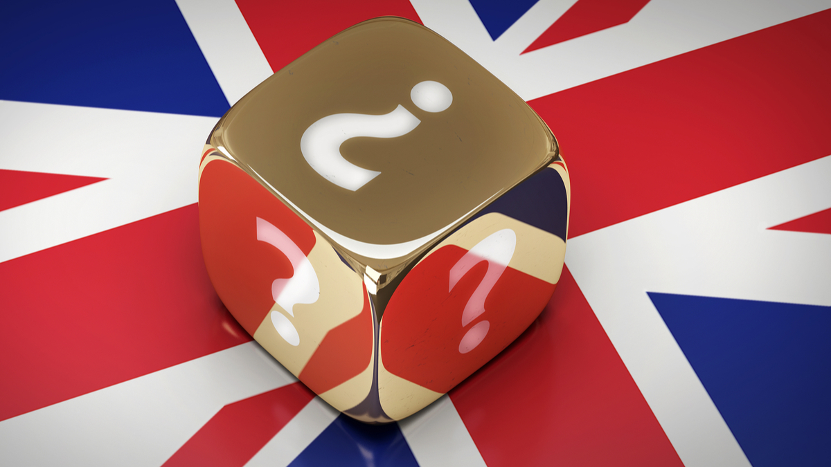 Flag of Great Britain with golden dice and a question mark - 3d illustration.