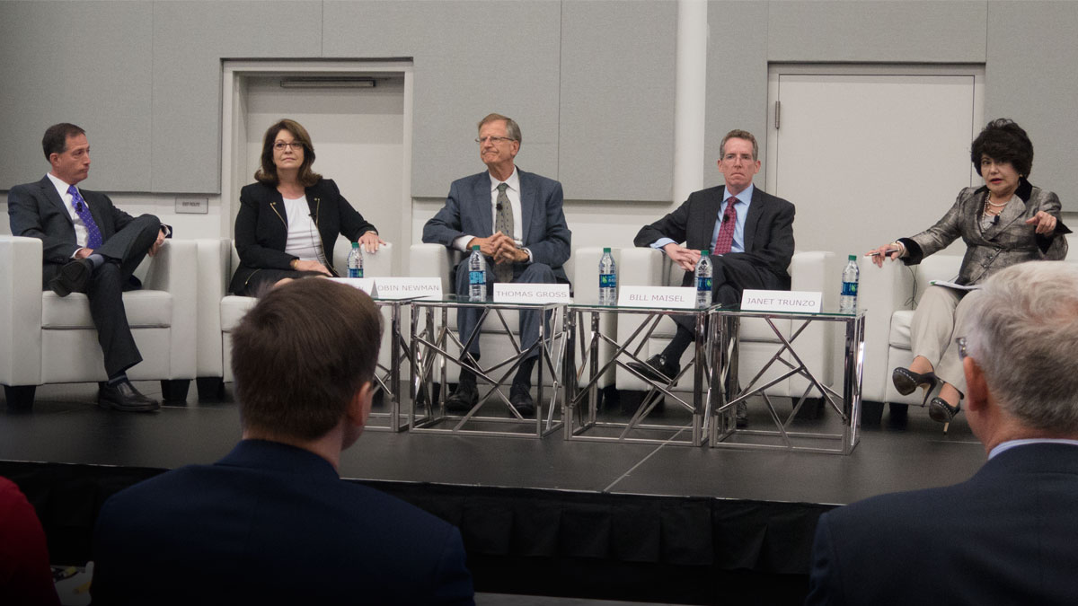 Top FDA officials including Jeff Shuren (left), Robin Newman, Thomas Gross and Bill Maisel answered industry questions at The Medtech Conference 2017 which was moderated by AdvaMed's Janet Trunzo.