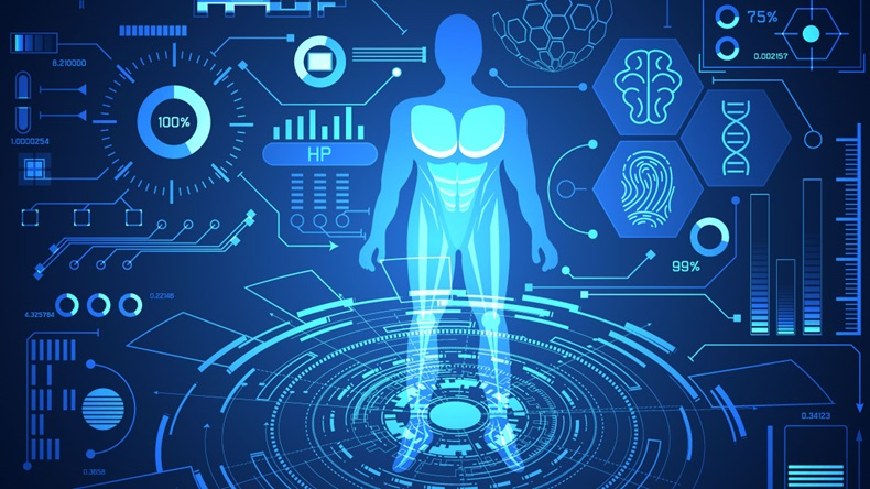 abstract technology science concept human data health digital : hud interface elements of medicine analysis fingerprint,brain,DNA and percent vitality innovation on hi tech future design background