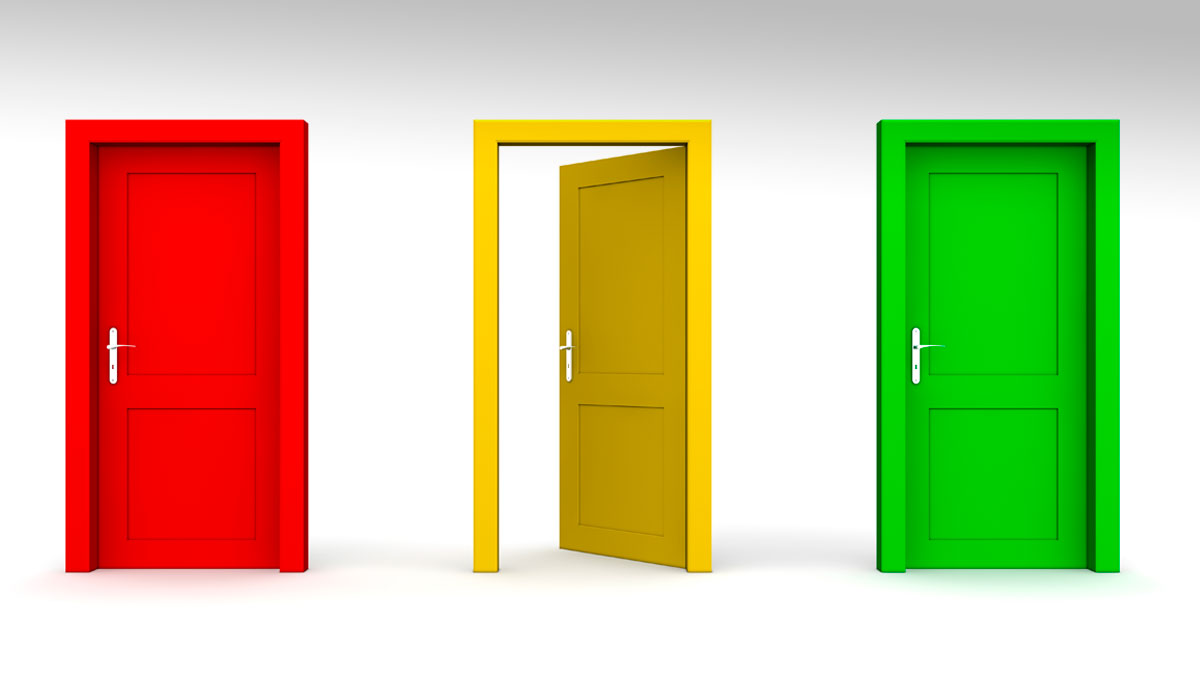 three doors in a a row - red, yellow, green - yellow door open