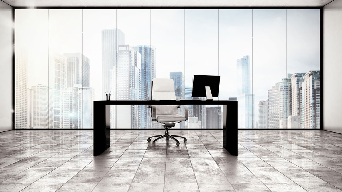 Luxury executive office with city view window - Image