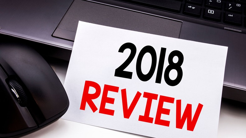 Conceptual hand writing text caption inspiration showing 2018 Review. Business concept for Feedback On Progress written on sticky note paper on black keyboard background. - Image