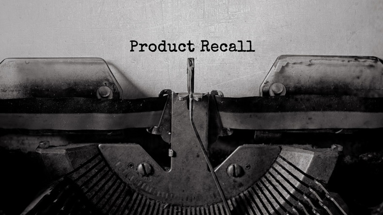 Product Recall typed words on a vintage typewriter - Image