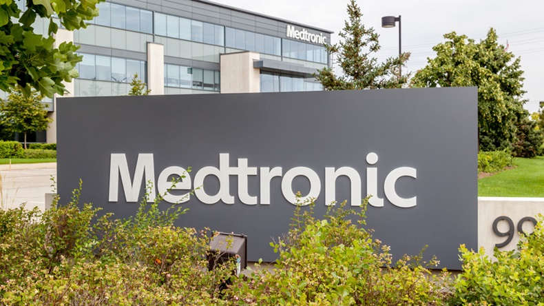 Brampton, Ontario, Canada- August 25, 2018: Sign of Medtronic at Canada Headquarters in Brampton, Ontario, Canada. Medtronic is among the world's largest medical equipment development companies. - Image