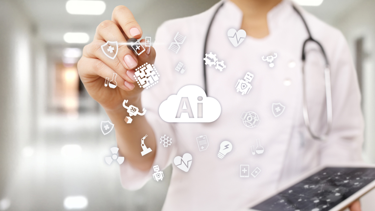 AI, artificial intelligence, in modern medical technology. IOT and automation. - Image