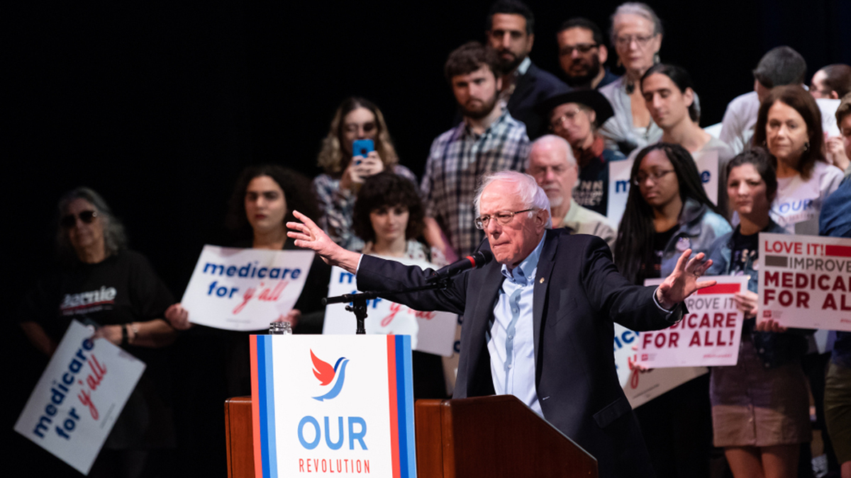 "Columbia, South Carolina USA - October 20, 2018: Bernie Sanders speaks to S.C. progressives during an open to the public health care rally organized by political organization ""Our Revolution"". - Image"