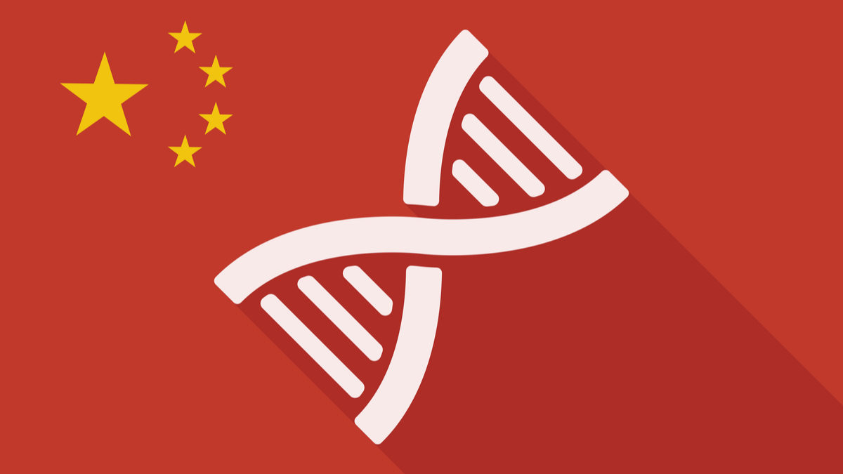 Illustration of a China long shadow flag with a DNA sign - Vector