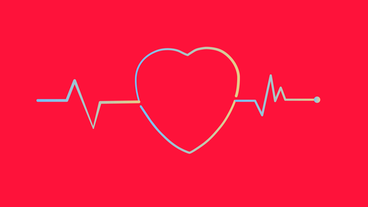 Heartbeat and Heart rate line concept on white background. Vector illustration. - Vector