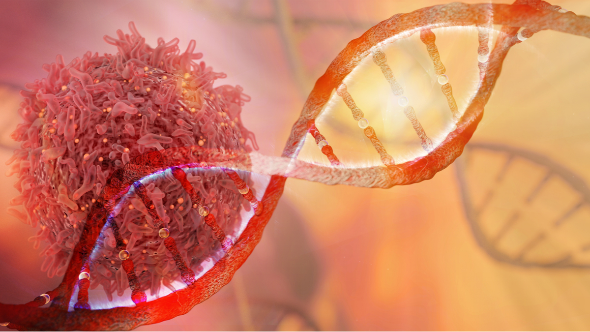 DNA strand and Cancer Cell Oncology Research Concept 3D rendering - Illustration