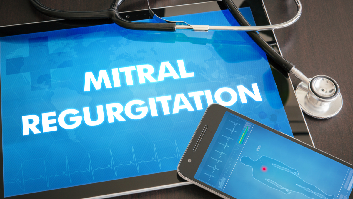 Mitral regurgitation (heart disorder) diagnosis medical concept on tablet screen with stethoscope. - Image