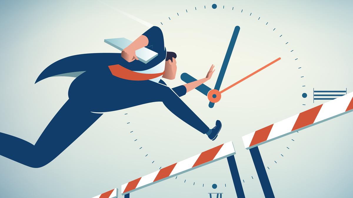 Competing Against Time. Businessman jumps over obstacle. Business vector illustration - Vector