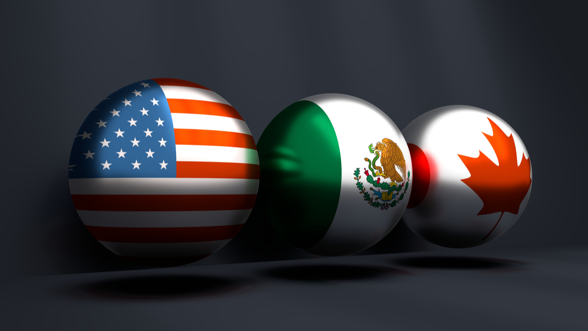 Acronym USMCA - United States Mexico Canada Agreement. 3D rendering. National flags on spheres. Trade union. Global teamwork. 3D rendering
