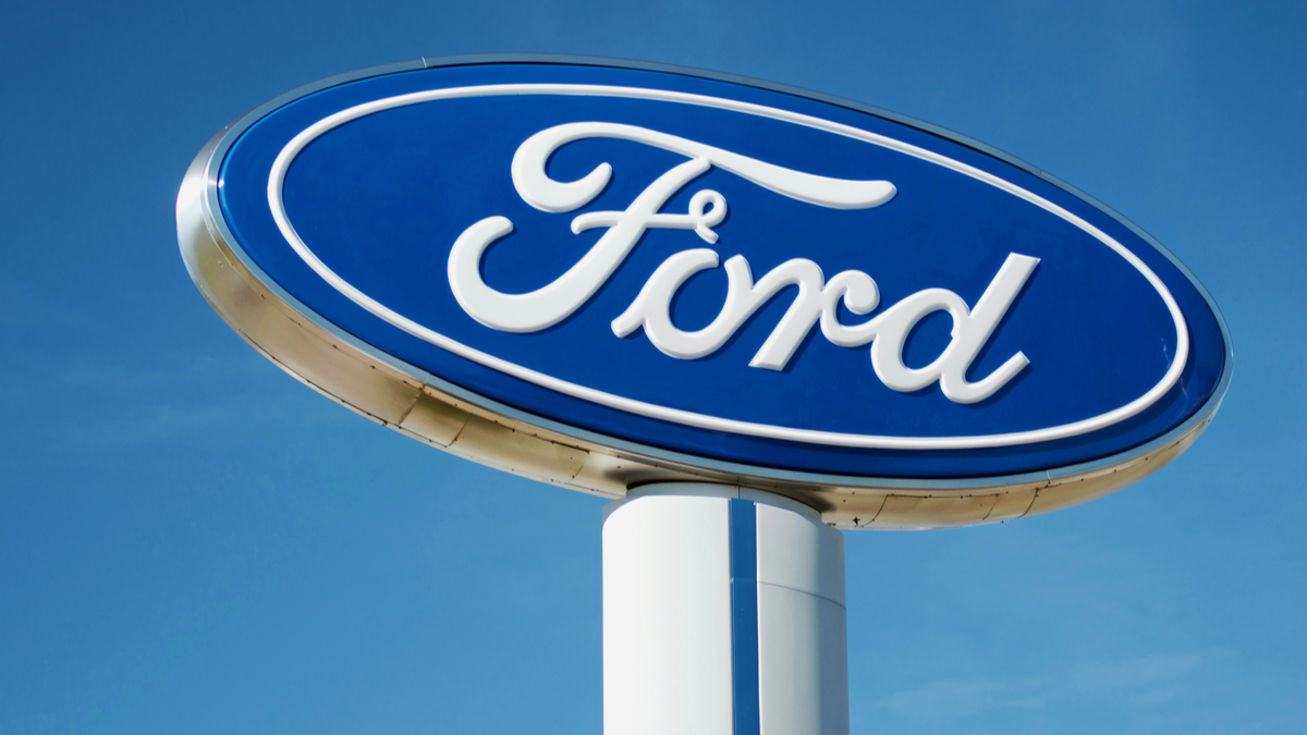 Detroit October 17, 2017:Ford Dealership Sign on Woodward near Detroit, October 17,2017 Detroit, Michigan USA