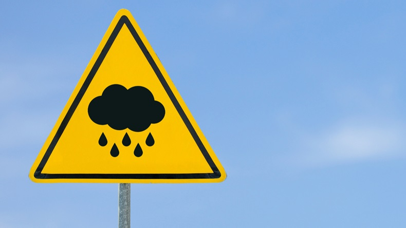 cloud with raindrops falling down yellow triangle warning sign, warning sign, lable, Yellow warning sign, Yellow sign on the sky background