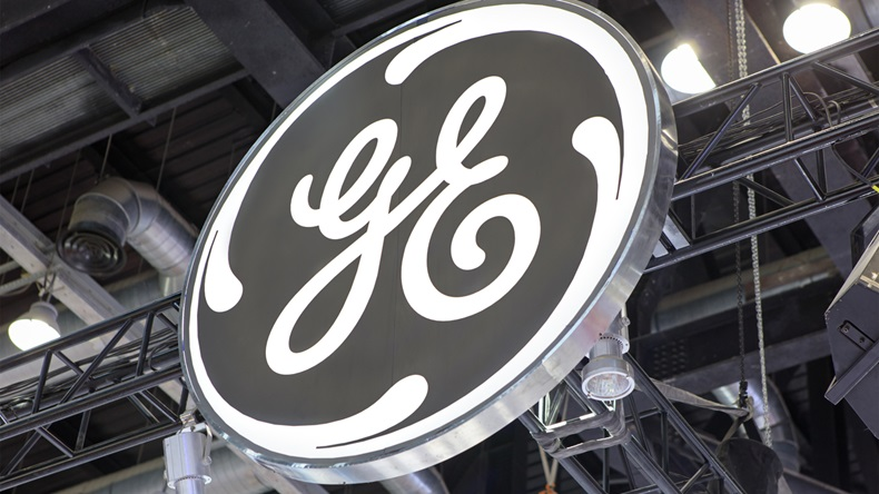 MARCH 26, 2017: General Electic brand sign. General Electric (GE), is an American corporation founded in 1892 that serves Wordwide.