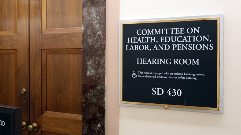WASHINGTON - JULY 18: A sign at the entrance to a Senate Health, Education, Labor, and Pensions Committee room in Washington, DC on July 18, 2017. The Senate is the upper chamber of the US Congress.