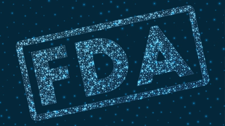 FDA word in digital style. Glowing geometric FDA badge. Neat vector illustration.