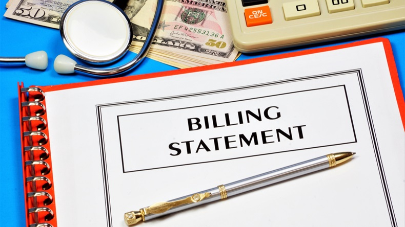 Billing statement. Text inscription in the form on the medical folder with documents. Payment for medical care.