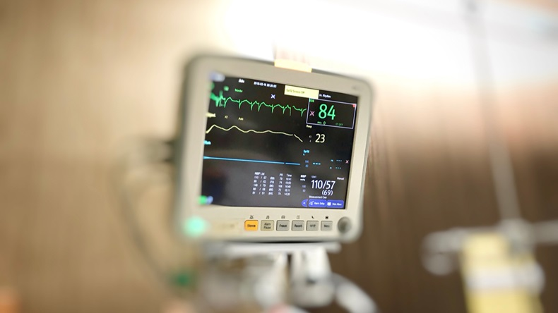 Display screen of vital signs monitor in the hospital.