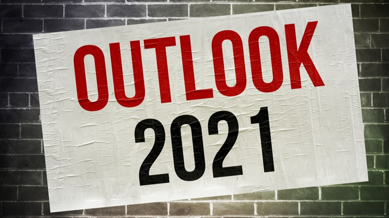 Outlook for 2021 - Message written on a poster.