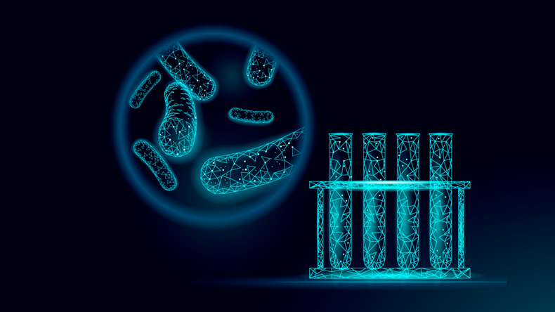 Test tube of bacteria; 3D low poly render