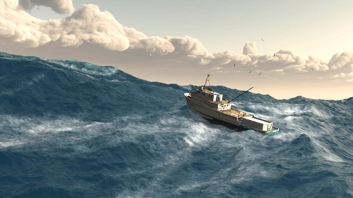fishing boat giant wave storm rogue wave