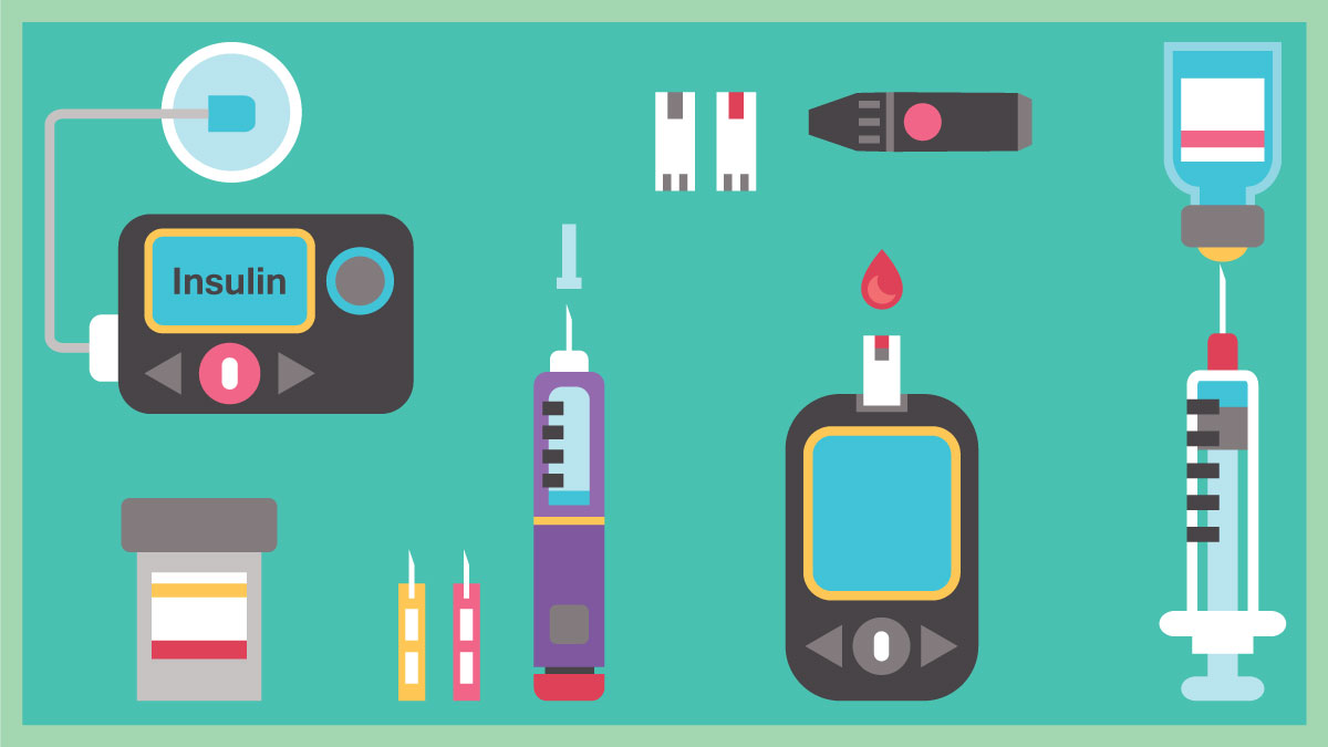 Diabetes Flat Icon Set - Insulin Pump, Glucometer, Syringe, Injection Pen, Lancets, Blood Glucose Test  COPYRIGHT: Shutterstock: HelgaMariah