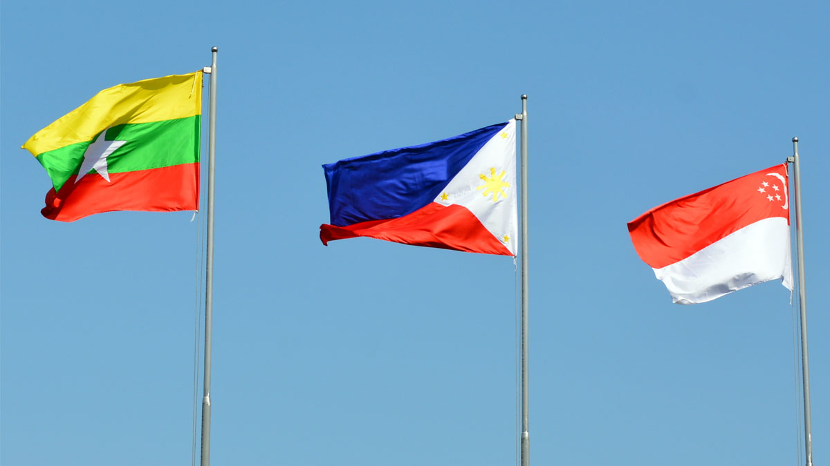 Myanmar, Philippines, Singapore, Asean Large Fabric Flags, Blue Sky, Windy Day