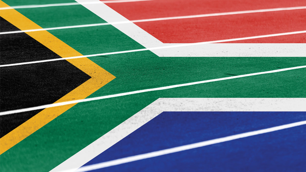 running athletic race track with blending South Africa flag