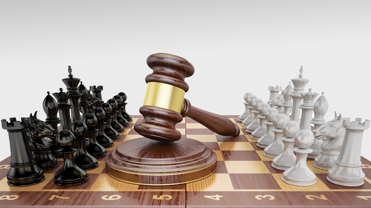 Gavel on chess board with figures. Law chess concept, 3D rendering