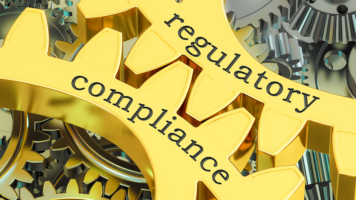 regulatory compliance concept on the gearwheels, 3D rendering